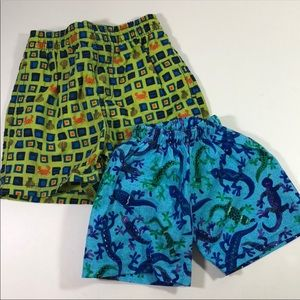 2pair boys toddler swim shorts 3-6m & 12-18m - EUC
